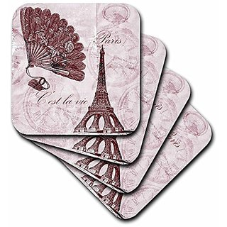 3dRose cst_63541_1 Paris Vintage Eiffel Tower Time in Pinks-Soft Coasters, Set of 4