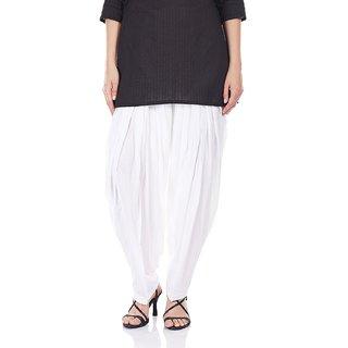 I Shop Traditional White Patiala Salwar 100 Cotton Free Size