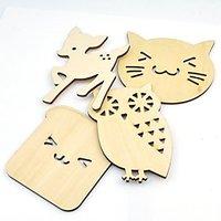 Wooden Coasters For Drinks, Set Of 4, Animals Design Deer Cat Dog Owl