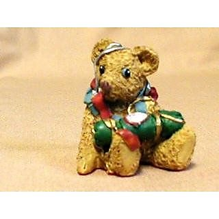 1994 Pennywhistle Lane Popsey Bear w/ Ribbon Christmas Village Figurine