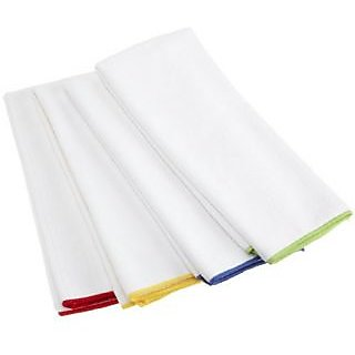 DII White Microfiber with Primary Trim Borders Towel, Set of 4