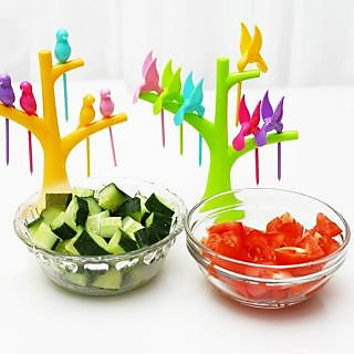 BEST ABS PLASTIC BEING HUMMING BIRD FRUIT FORK 6 PIECE SET WITH FORK STAND.