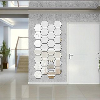 Amaonm (Pack of 12) Side 6.2cm 3d Silver PVC Mirror Acrylic Geometric Hexagon Wall Bedroom Tv Wall Background Sticker Li