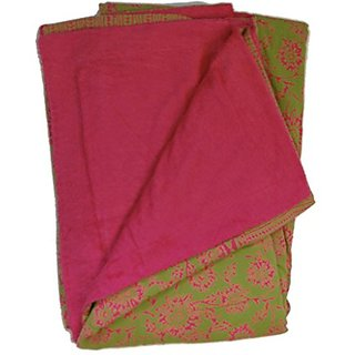 Green and Hot Pink Floral Sarong Towel