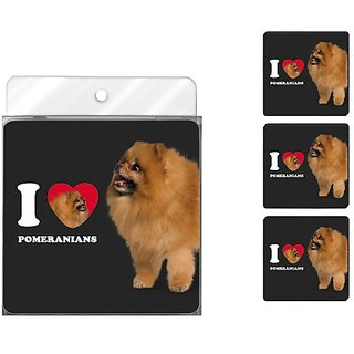 Tree-Free Greetings NC39101 I Heart Pomeranians 4-Pack Artful Coaster Set, Tan