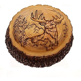 Animal DEER BUCK CARVED WOOD BOX Polyresin Trinket Box PWC132