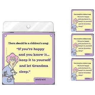 Tree-Free Greetings NC37824 Aunty Acid 4-Pack Artful Coaster Set, If Youre Happy