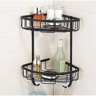 HiendureTM 2 Tiers Wall Mounted Solid Brass Corner Shower Caddies Cosmetics Organizer Holder, Oil Rubbed Bronze
