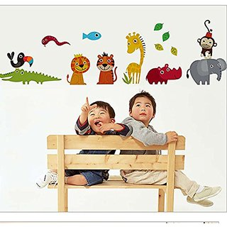 Brooke & Celine Wall Stickers Cartoon Animals Home Decoration Removable Wallpaper For Kids Room