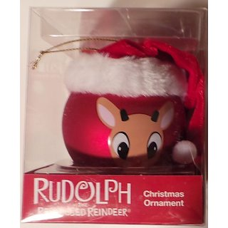 Rudolph the Red Nosed Reindeer with Santa Hat Round Ornament