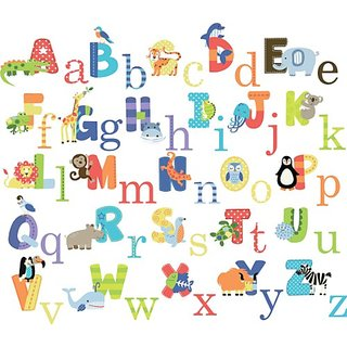 Animal Alphabet Nursery Peel & Stick Wall Art Sticker Decals for Boys and Girls (alphabet)