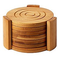 "Heavy Duty Bamboo Coaster Set With 7 Coasters And Custom Holder 4.3"" X 4.3"" X 2.7"