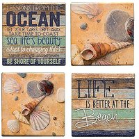 Life Is Better At The Beach Lessons From The Ocean Set Of 4 Sandstone Coasters