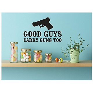 Design with Vinyl 1 Zzz 250 Decor Item Good Guys Carry Guns Too Image Quote Wall Decal Sticker, 12 x 18-Inch, Black