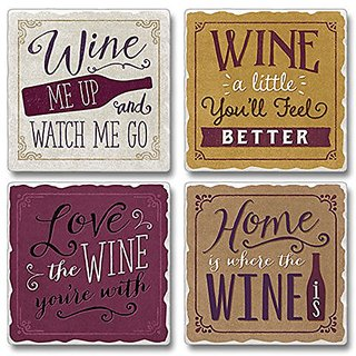 Highland 05-00106 Wine Me Up Set Of 4 Coasters