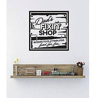 Design with Vinyl 1 C 2398 Decor Item Dads Fixing Shop Image Quote Wall Decal Sticker, 8 x 8-Inch, Black