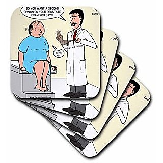 3dRose cst_8162_2 Medical Second Opinion For Prostate Exam Soft Coasters, (Set of 8)