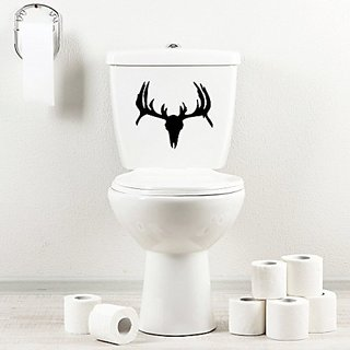 StickAny Bathroom Decal Series Deer 7 Sticker for Toilet Bowl, Bath, Seat (Black)