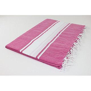 Large Beach Picnic Bed Throw Camping Outdoor Turkish Towel Blanket 100% Turkish Cotton Best Quality (Fuchsia)