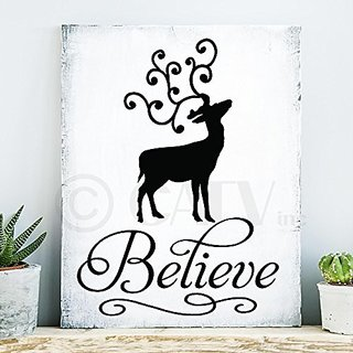 Believe Reindeer Christmas vinyl wall decal self adhesive sticker quote saying craft gift (Black)