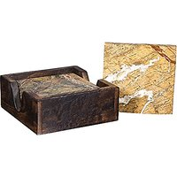 Set Of Four Marble Coaster In A Wooden Caddy-Absorbent Drink Coasters With Holder (Set Of 4 Brown)