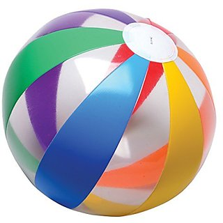 Lot Of 12 Clear Rainbow Striped Design Multi Color Beach Balls