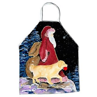 Carolines Treasures SS8973APRON Santa Claus with Golden Retriever Apron, Large, Multicolor