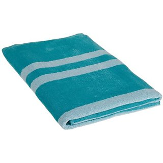 Northpoint Positano Stripe Plush Velour Beach Towel, 34 by 63-Inch, Aqua Blue