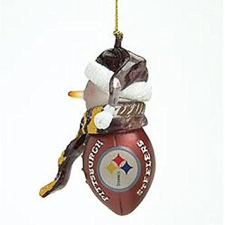 Pittsburgh Steelers NFL Acrylic Snowman Football Ornament (1 Ornament)