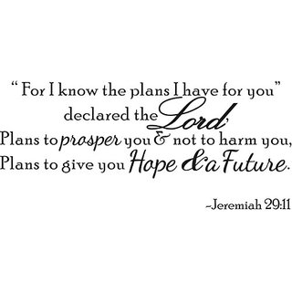 For I Know The Plans Jeremiah 29:11 Vinyl Wall Quote Decal Bible Word Gift idea
