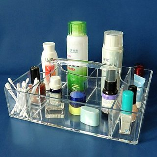 Vieworld Acrylic Caddy, 9 Compartments, Clear