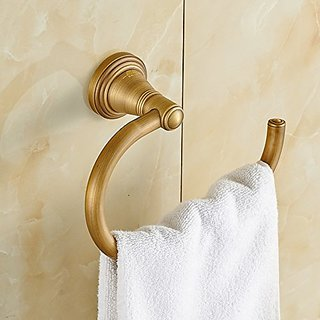 Rozinsanitary Wall Mount Towel Hook Rack Antique Brass Bath Towel Ring