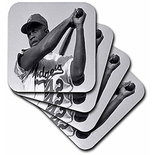 3dRose cst_80393_2 Picture of Jackie of The Brooklyn Dodgers-Soft Coasters, Set of 8