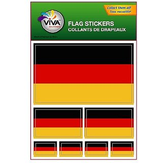 Set of 7 Vinyl Car Stickers, 3 Sizes - Germany Flag (Plain)