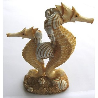 Resin Double Seahorse with Sand and Shells - New Beach