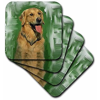3dRose cst_4022_1 Golden Retriever Soft Coasters (Set of 4)