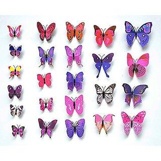 Mintbon 12 Pcs 3D Removable Butterfly Wall Stickers DIY Art Decor Decals (Purple)