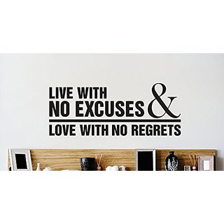 Design with Vinyl 2 Zzz 619 Decor Item Live with No Excuses and Love with No Regrets Quote Wall Decal Sticker, 14 x 28-I