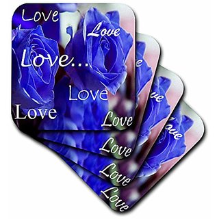 3dRose cst_6912_2 Three Bright Blue Roses with Love Soft Coasters, (Set of 8)