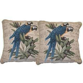 DaDa Bedding CC-156 Parrot in Love Woven Cushion Cover, 18 by 18-Inch, Set of 2