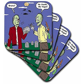3dRose cst_3810_1 Halloween Zombie Vegans Soft Coasters, (Set of 4)