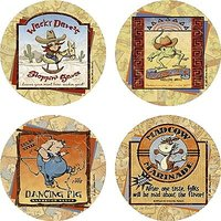 Set Of Four Hot Sauces Jan Shade Beach Occasions Drink Coasters