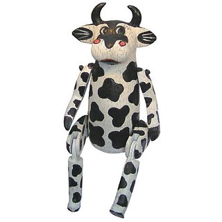 Cohasset 836PR09 9-Inch Mini Betsy Polyresin Cow, Black and White