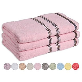 Cotton Bath Towels 3 Pack Maximum Softness and Absorbency (27 Inch x 52 Inch) 100% Cotton Bath Towels (Pink)