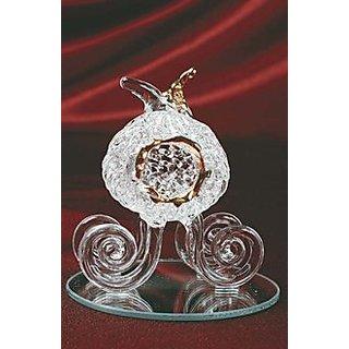 StealStreet SS-UG-GW-529 Crystal Glass Pumpkin Carriage Decoration Design Figurine