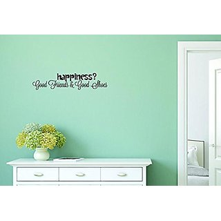 Design with Vinyl Moti 1517 3 Happiness? Good Friends & Good Shoes Quote Peel & Stick Wall Sticker Decal, 10