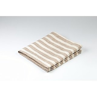 BLESS LINEN Striped Pure Linen Hand Kitchen Towel, 16 x 30 Inches, Brown/White