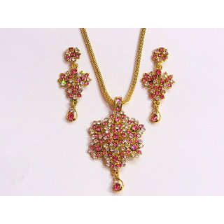 Pink And White Zarkand Necklace With Earrings. GLITZY BY ROOHIE