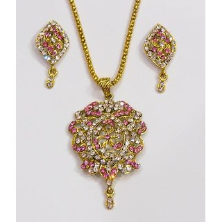 Pink And White Shining Necklace And Earring.GLITZY BY ROOHIE