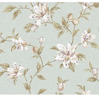 York Wallcoverings PH4632 Artisan Estate Magnolia Vine Wallpaper, Soft Green, white, Purple, Pale Peach, Brown